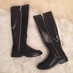[Zara] Croc Knee High Tall Boot